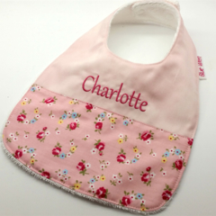 Baby Toddler Bib Personalised, Tiny Flowers on Cotton Fabric, Bamboo Toweling.