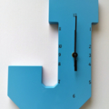 "BLUE WOODEN LETTER ""J"" CLOCK"
