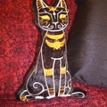 Egyptian Cat Embroidered Plush Toy, Cushion. Pillow
