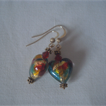 Murano Glass Cluseau Heart Earrings