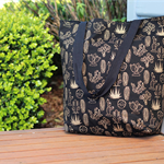 Gold Gold and Black Cactus Canvas Tote Bag