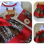 FRILLY TOP SKIRT SET - 'Oh Deer', Christmas, Spliced Skirt, Reindeer