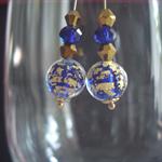 6 mm Globe Murano Glass Earrings in Blues & Golds