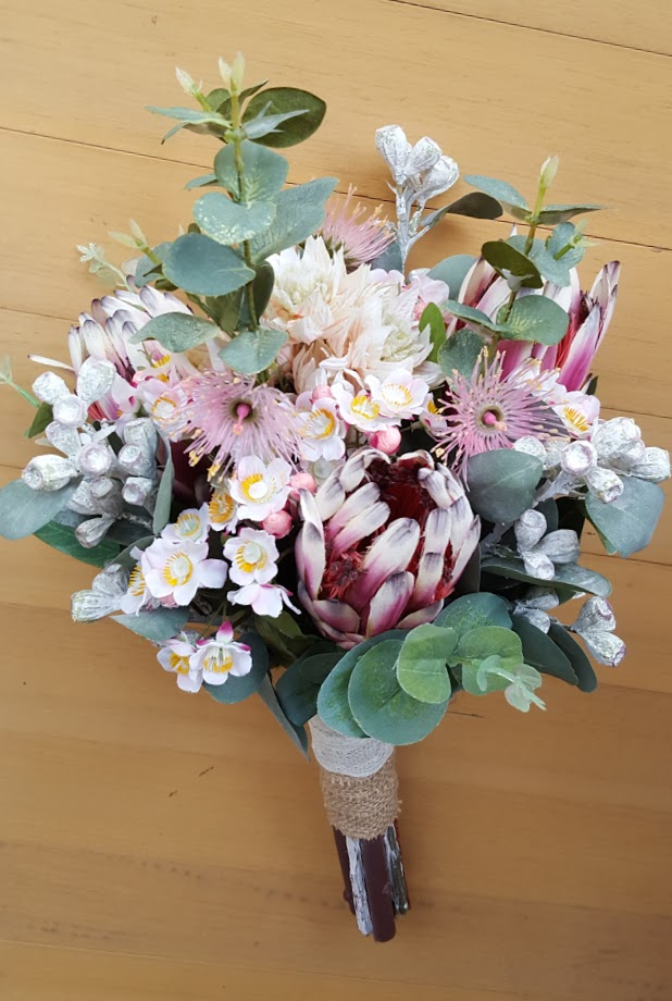 Australian Native Flowers Bridal Bouquet Protea Gum Nuts
