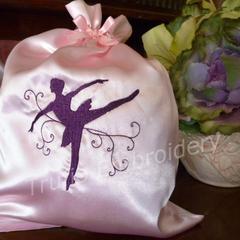 """Pink and Burgundy"" Satin Ballet/Dance Shoes Drawstring Bag"