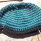 crochet cloche in teal and back pure wool yarn