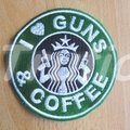 "Starbuck inspired ""Guns and Coffee"" Drink Coaster"