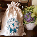 """Gold with Teal Crest"" Satin Ballet/Dance Shoes Drawstring Bag"