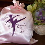 """Pink and Burgundy"" Satin Ballet/Dance Shoes Drawstring Bag"