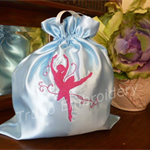 """Pale Blue"" Satin Ballet/Dance Shoes Drawstring Bag"