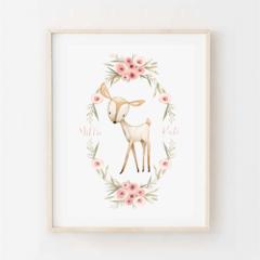 Woodland Deer in Floral Wreath - Children's art. Watercolour fawn. A4 Print