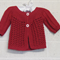 3 - 9 mths Baby Lacy Cardi, Red Cotton, Hand Knit
