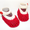 Hand Knit, Baby, Cotton, Mary Jane Style Shoes, Red & Cream, Lacy