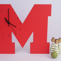 """RED WOODEN LETTER """"M"""" CLOCK"""