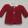 3 - 6 mths Baby Lacy Cardi, Red Cotton, Hand Knit
