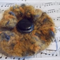 Crocheted brooch made from mohair blend yarn with vintage button ON SALE!!