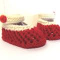 3 - 9 mths Baby Booties Shoes, FREE POST , Red / Cream White Cotton, Hand Knit