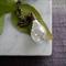 Silver German Glass Glitter Teardrop Necklace