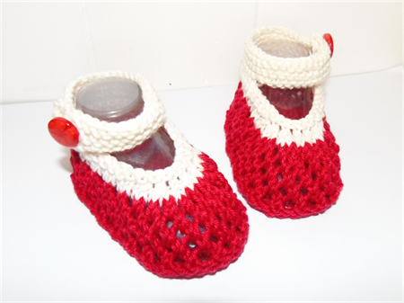 Baby Booties Shoes, Red / Cream White Cotton, 6 - 12 mths, Hand Knit