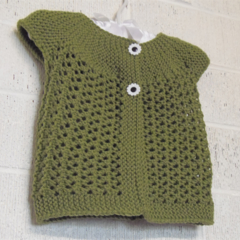 3 - 6 mths Baby Lacy Cardi, FREE POST , Green Wool, Hand Knit