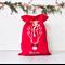 Large Personalised Santa Sack -  Reindeer Face in Red with flowers