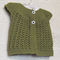 Hand Knit, Wool, 3 - 6 m, Baby, Lacy Cardigan Vest, Green