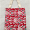 Christmas handmade gift bag in festive red print, 100% cotton, tote style