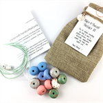 Make it yourself necklace gift kit-handcrafted clay beads- copper leaf pastels