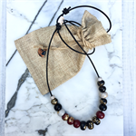 Handcrafted gold leaf, black, cherry and grey polymer clay adjustable necklace