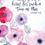 A4 Watercolour floral splash - Esther verse