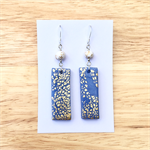 Handcrafted gold leaf and blue polymer clay earrings sterling silver hooks