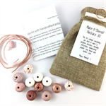 Make it yourself necklace gift kit-handcrafted clay beads-copper leaf pink white