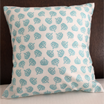 Cushion cover of sparkly blue crowns coordinates with Unicorn cushion cover