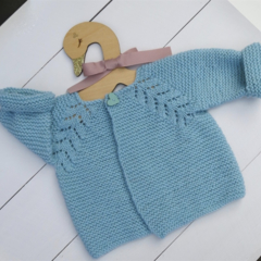 Gorgeous Hand Knitted Cardigan in Mint/Aqua Pure Wool, fits 3-6 months