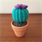 Crochet Mini Cactus with Purple Flower - Gift Idea - Decoration - Succulent