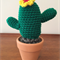 Crochet Mini Cactus with Red Yellow Flower - Gift Idea - Decoration - Succulent