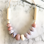 Handcrafted white and rose gold polymer clay adjustable necklace