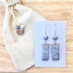 Handcrafted gold leaf, blue marbled polymer clay earrings sterling silver hooks