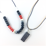 Make it yourself necklace and pendant kit- handcrafted clay beads- indigo kimono