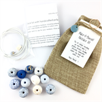 Make it yourself necklace gift kit-handcrafted clay beads- gold leaf blue white