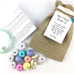 Make it yourself necklace gift kit-handcrafted clay beads- mosaic pastels