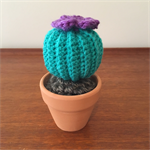 Crochet Mini Cactus with Purple Flower - Gift Idea - Decoration - Succulent