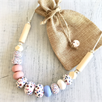 Handcrafted pastel spots polymer clay adjustable necklace