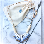 Handcrafted gold leaf, white and blue polymer clay adjustable necklace