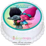 Trolls Round Edible Icing Cake Topper - PRE-CUT - EI139R