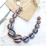 Handcrafted polymer clay adjustable necklace - multicoloured stripes