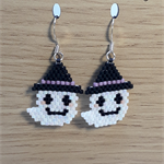 Halloween Ghost Beaded  Earrings