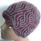 Pure Wool Beanie Woman's Hand Spun & Knitted Maroon & Grey
