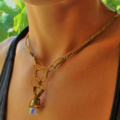 Coloured Sea Glass Gold Macramé Necklace
