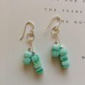 Sterling Silver & Glass Dangle Earrings ~ Seaglass Green and White Swirl
